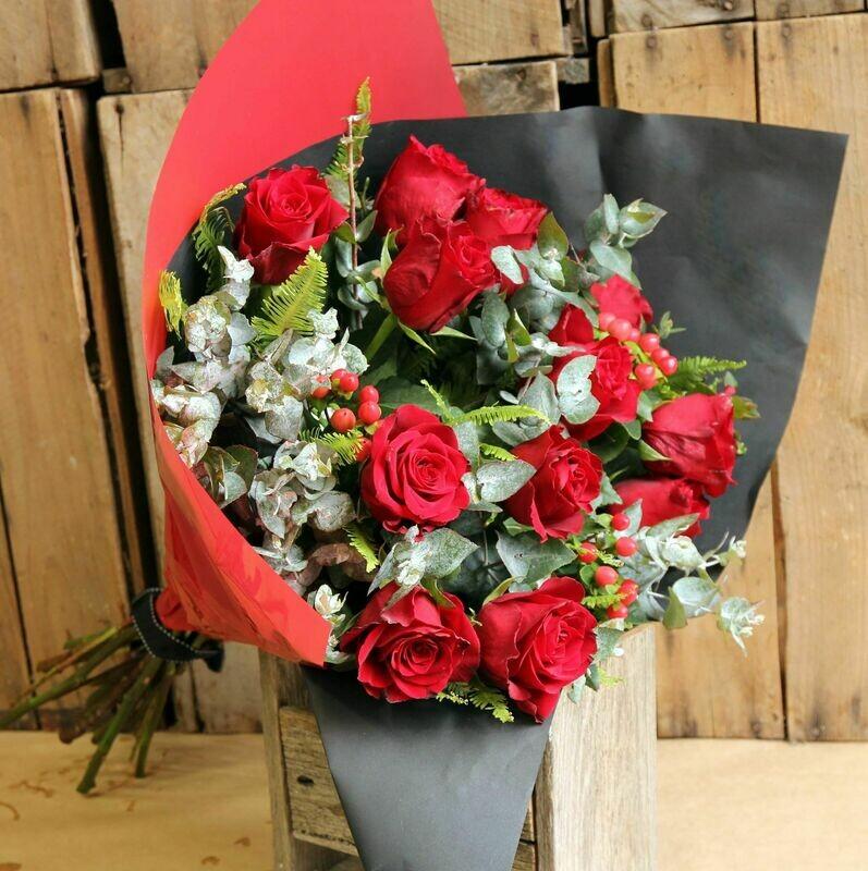 Dozen Long Stem Red Rose Bouquet
