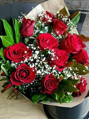 Half Dozen Long Stem Red Rose Bouquet