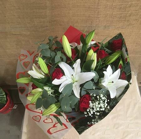 Oriental & Red Rose Bouquet