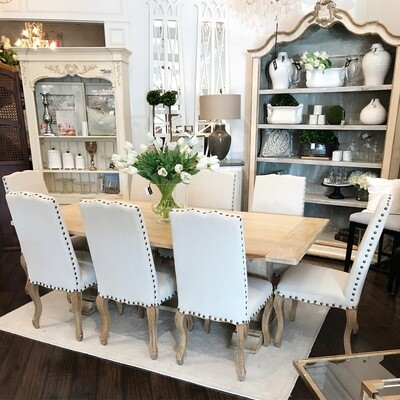 Dining Chair, Linen + Nail Heads