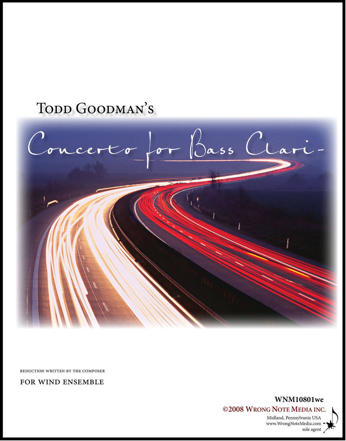 Concerto for Bass Clarinet - Wind Ensemble, by Todd Goodman