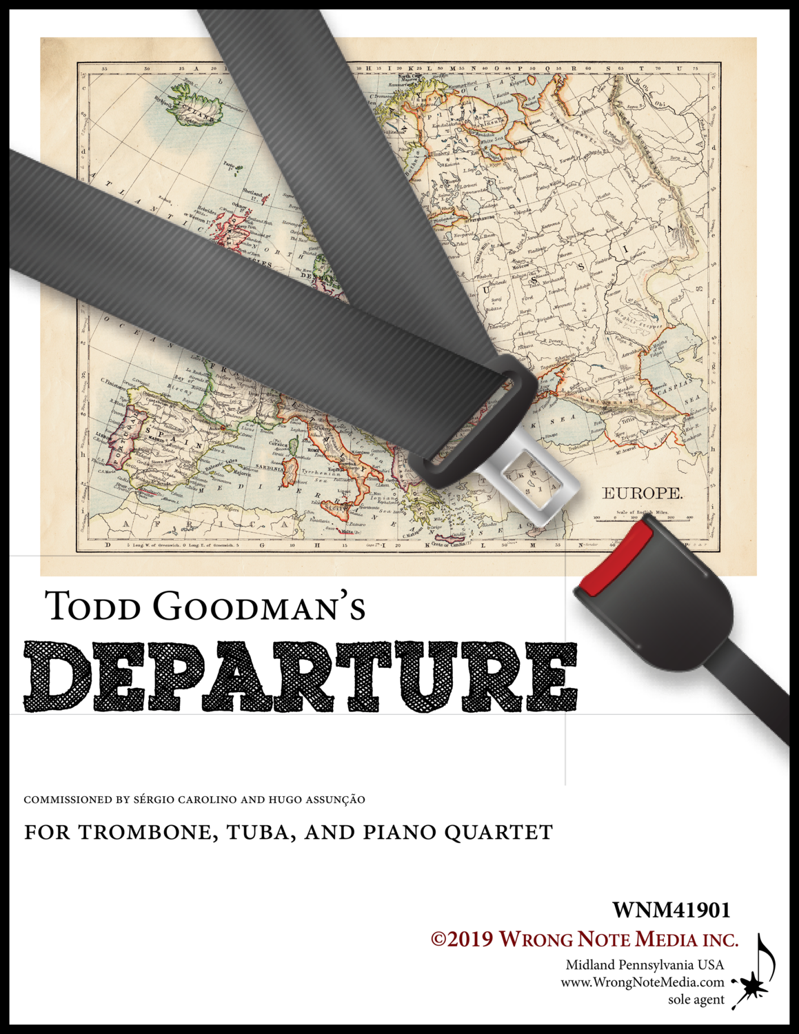 Departure - trombone (or horn), tuba (or trombone), and  piano quartet, by Todd Goodman