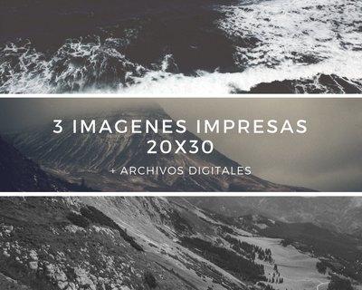 3 Imagenes impresas a 20x30 + Archivos digitales + 10% descuento
