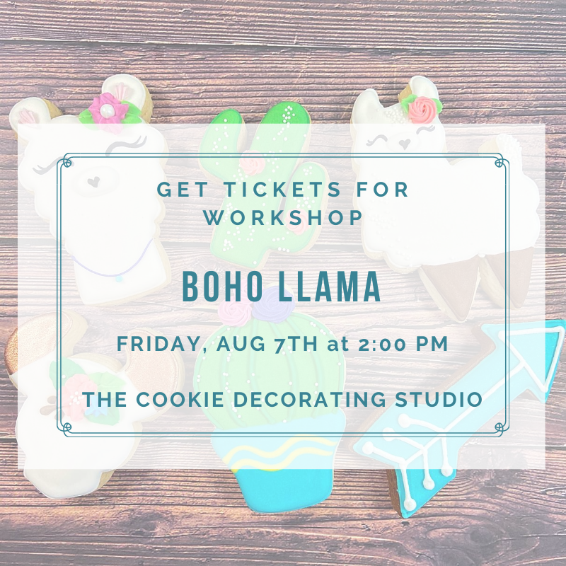 'Boho Llama Decorating Workshop - FRIDAY, AUG 7th at 2 p.m. (THE COOKIE DECORATING STUDIO)