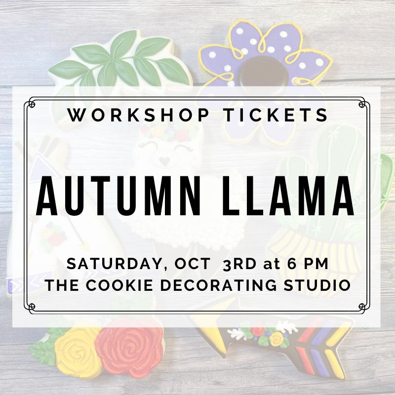 Autumn Llama Decorating Workshop - SATURDAY, OCTOBER 3rd at 6 p.m. (THE COOKIE DECORATING STUDIO)