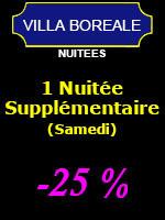 1 Nuitée supplémentaire (-25%) - 2 personnes (Samedi et veille de Jour férié)