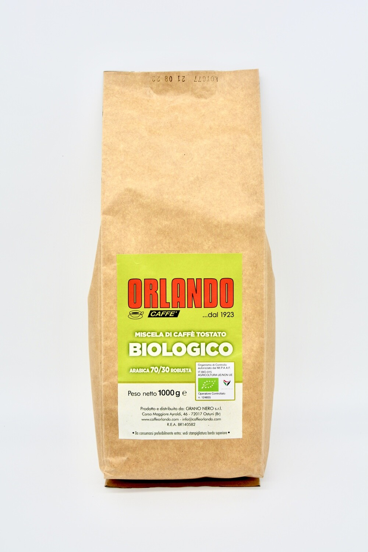 Confezione 1 kg di CAFFÈ in grani miscela di caffè tostato BIOLOGICO arabica 70/30 robusta - Caffè Orlando