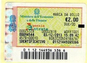 MARCA DA BOLLO APPLICATA ALLA RICEVUTA ORIGINALE PER IMPORTI SUPERIORI A 77,47 EURO