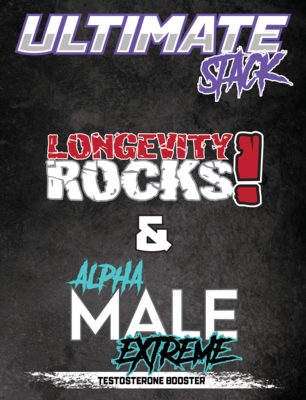 Longevity Rocks! & Alpha Male Ultimate Stack - All Natural Male Enhancement Supplement & Extreme Testosterone Booster Combo Stack - One Month Supply