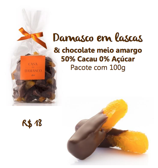 Damasco em lascas com chocolate DIET - 100g