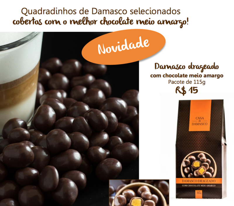 Damasco drageado com chocolate meio amargo - 115g