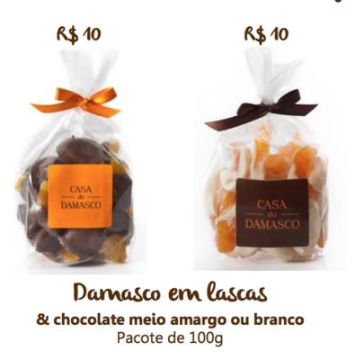 Damasco em lascas com chocolate meio amargo - 100g