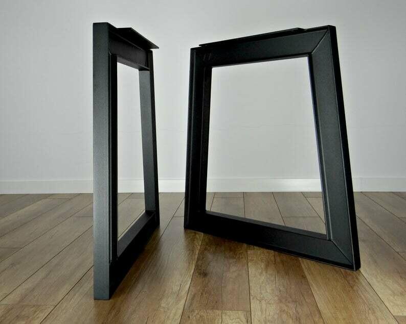 Metal Dining Table Legs (set of 2). Industrial Steel Table Legs. Table Base. Trapezoid metal Table Frame
