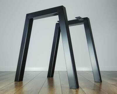 Metal Dining Table Legs (set of 2 legs). Steel Iron Legs for Kitchen Table. Strong, Industrial Furniture Legs