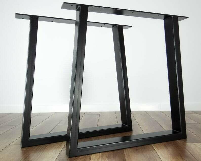 Metal Dining Table Legs (set of 2). Black Steel Table Legs. Kitchen Table Legs. Trapezoid metal Legs for Table (80x40mm steel)