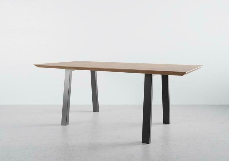 Metal Dining Table Legs set(2). 80x40mm Steel Kitchen Table Legs. Iron Table Legs, Trapezoid by StaloveStudio