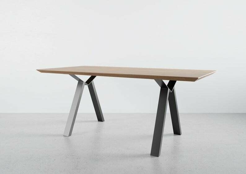 Metal Dining/Kitchen Table Legs set(2), Steel Table Legs. Modern Iron Dining Legs. [D022]