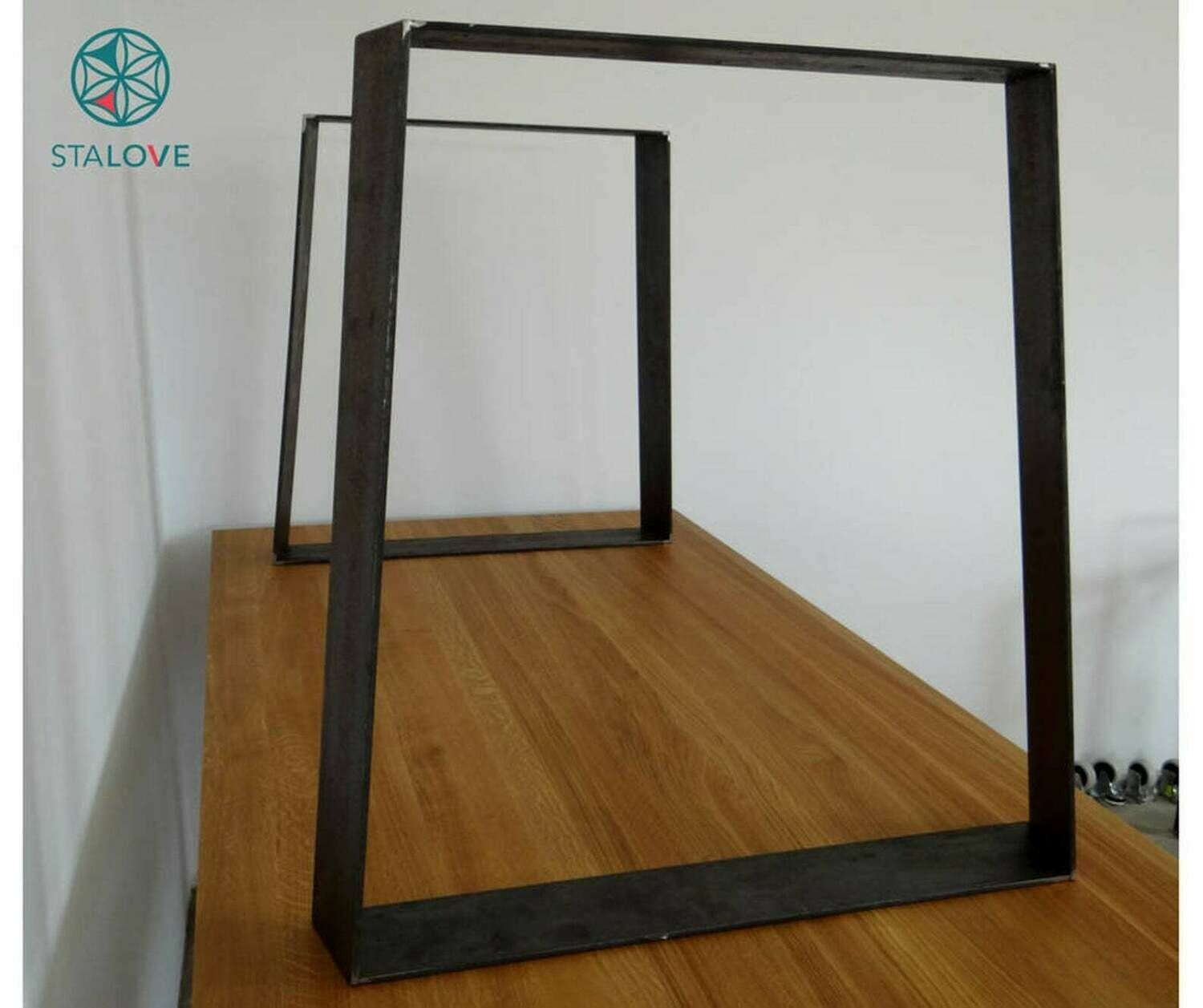 Metal dining table legs (set of 2). Trapezoid steel table legs. Metal desk legs. Iron Table Legs. Industrial Table. [D026]