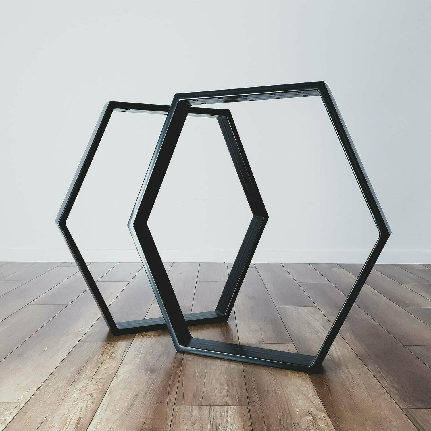 Metal Dining Table Legs (set of 2). Steel Dining Table Legs. Table Base. Hexagonal metal Frame for Mid Century Modern Table