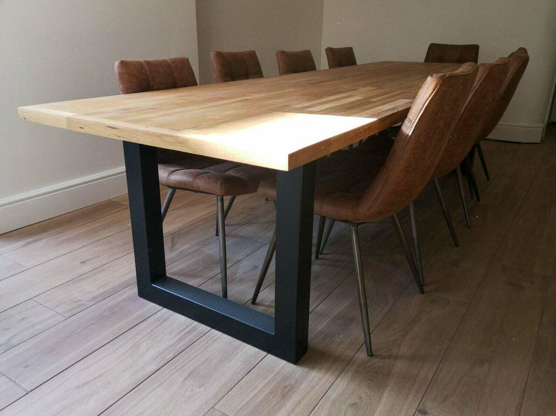 Metal Dining Table Legs 80x80mm steel set (2). Industrial Kitchen Table Legs. Heavy Duty Modern Desk Legs. Trestle Legs