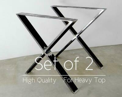 Metal Dining Table Legs (set of 2) X-shape. Modern Steel Table Legs.