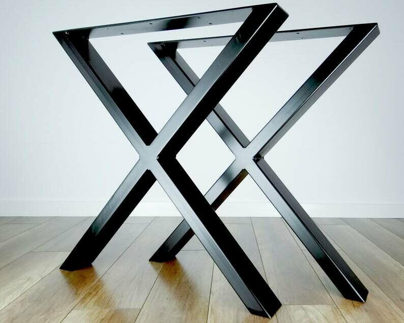 Metal Dining Table Legs (set of 2) Heavy X-shape 80x40mm steel. Modern Steel Kitchen Table Legs