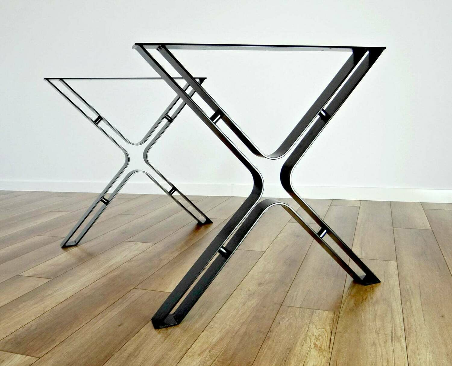 Metal Dining Table Legs (set of 2). Steel Hairpin Table Legs, Bend Industrial Kitchen Table Legs, Wrought Iron Table Base