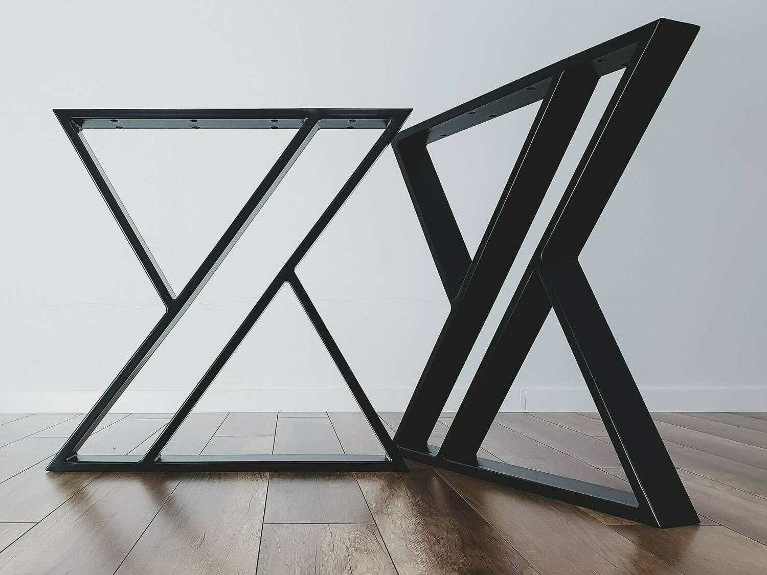 Steel Dining Table Legs (set of 2) X-shape. Modern Metal Table Legs. Industrial Table Base. Iron Legs for Reclaimed Wood. [D038]