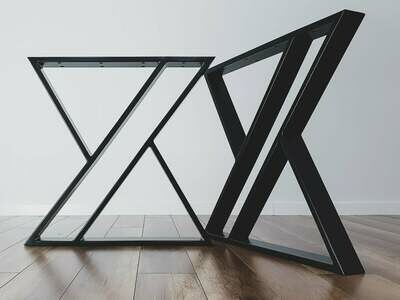 Steel Dining Table Legs (set of 2) X-shape. Modern Metal Table Legs. Industrial Table Base. Iron Legs for Reclaimed Wood