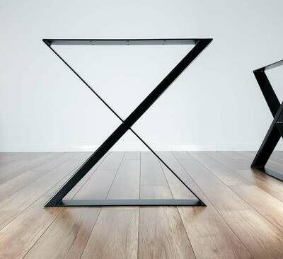 Metal Dining Table Legs (set of 2) UNIQUE TWIN X-shape 80x40mm steel. Modern Steel Kitchen Table Legs