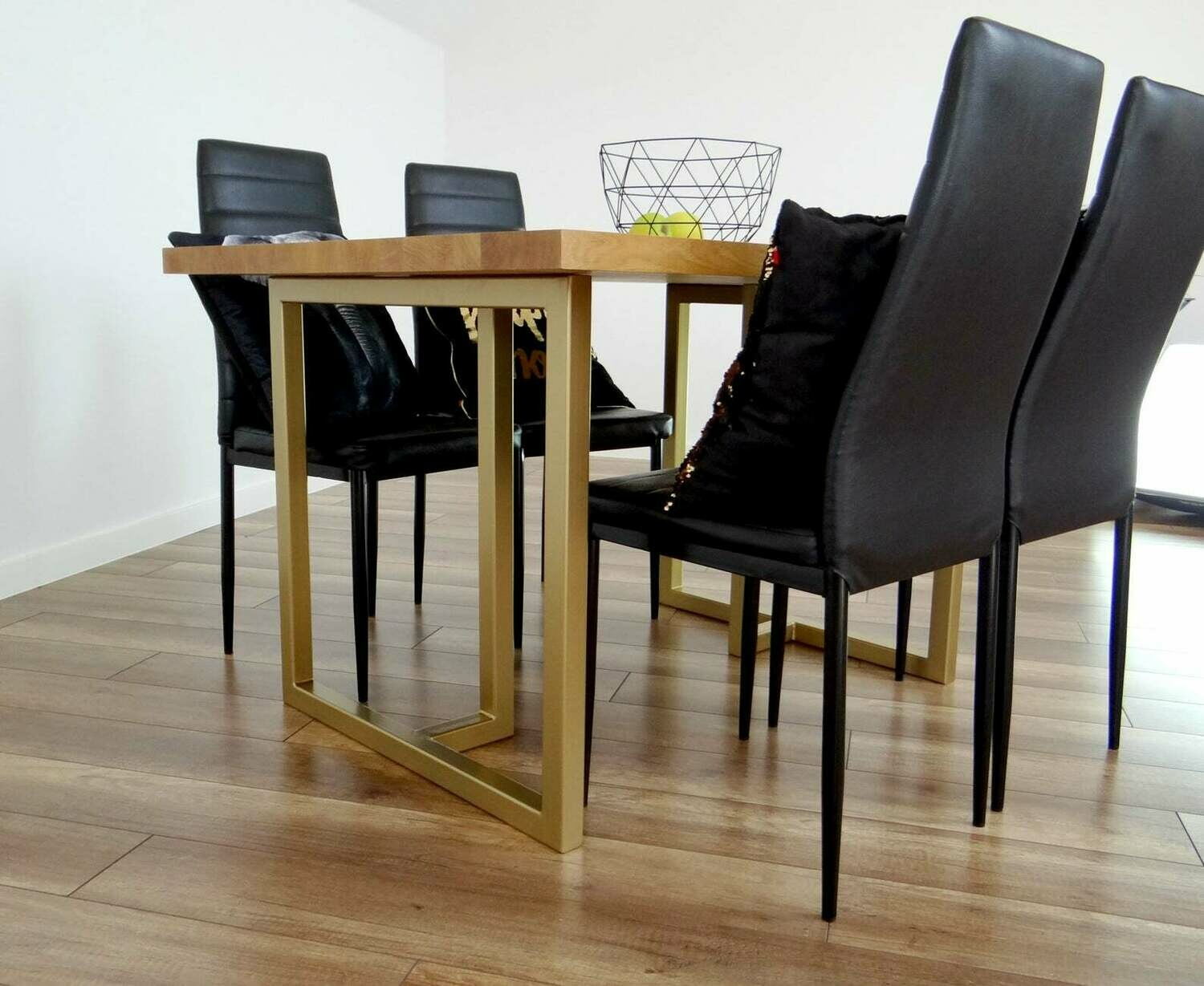 """Metal Dining Table Legs 28x28"""" (set of 2). T Shape Modern Steel Table Legs for Reclaimed Wood. Industrial, Gold Table Base. Iron Desk Legs. [D042]"""