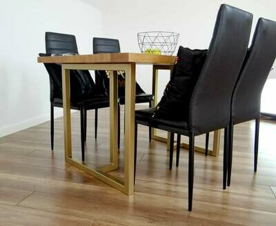 """Metal Dining Table Legs 28x28"""" (set of 2). T Shape Modern Steel Table Legs for Reclaimed Wood. Industrial, Gold Table Base. Iron Desk Legs."""