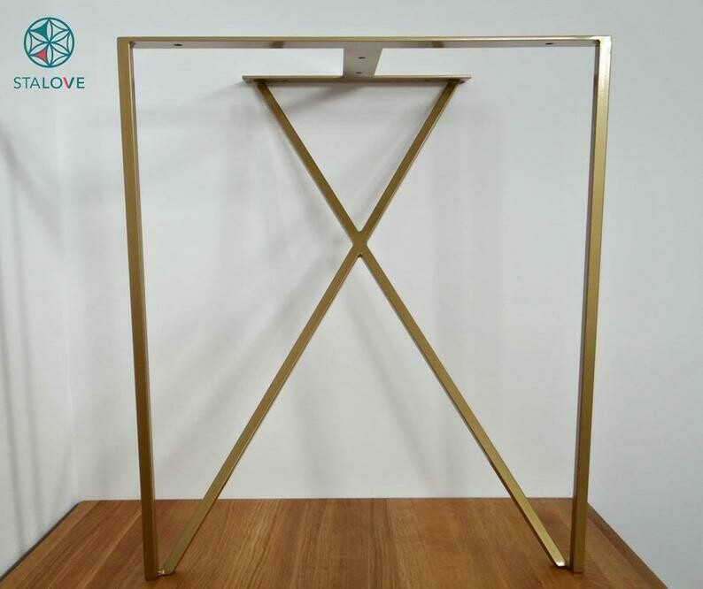 Steel Dining Table Legs. Metal Table Legs (set of 2). Iron Table Legs for Reclaimed Wood. Modern Desk Legs. [D045]