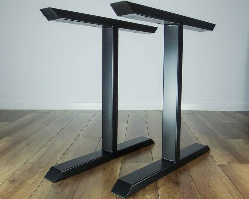 Metal Dining Table Legs (set of 2 legs). Steel Iron Legs for Kitchen Table. Strong, Industrial Furniture Legs. [D055]
