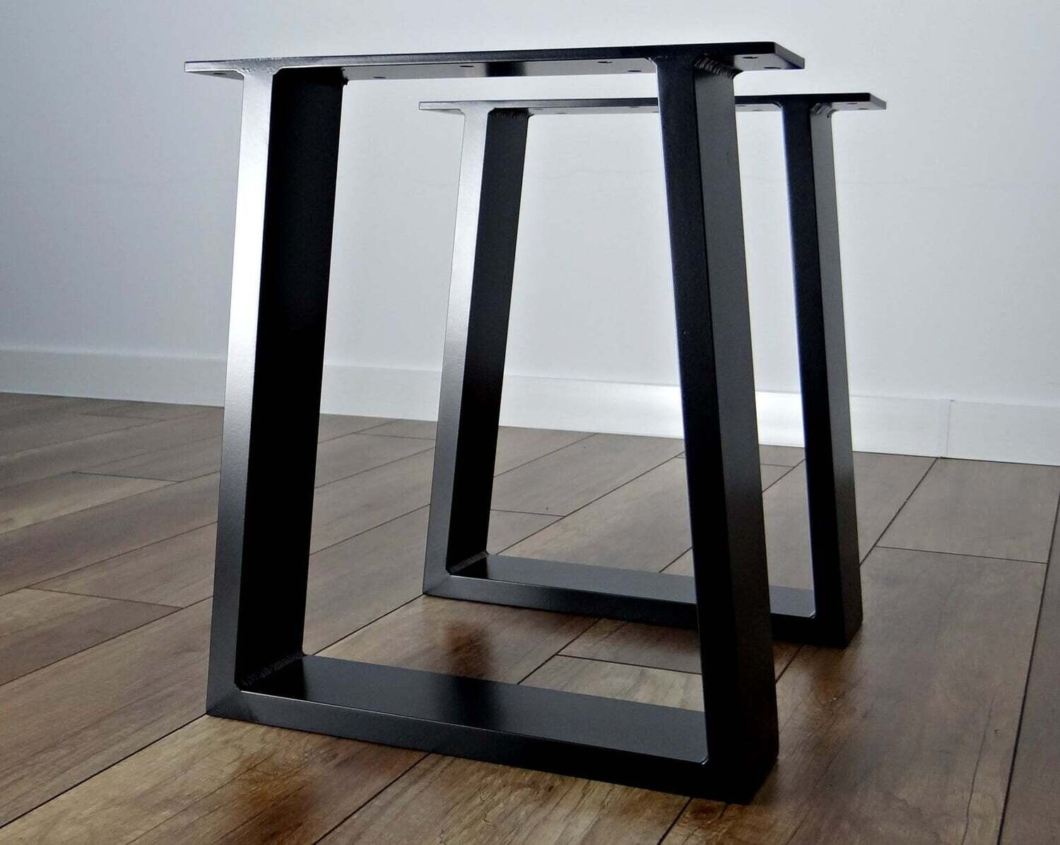Metal Coffee Table Legs (2). Steel coffee table legs for bench, stool. Trapezoid iron coffee table legs. [D064]