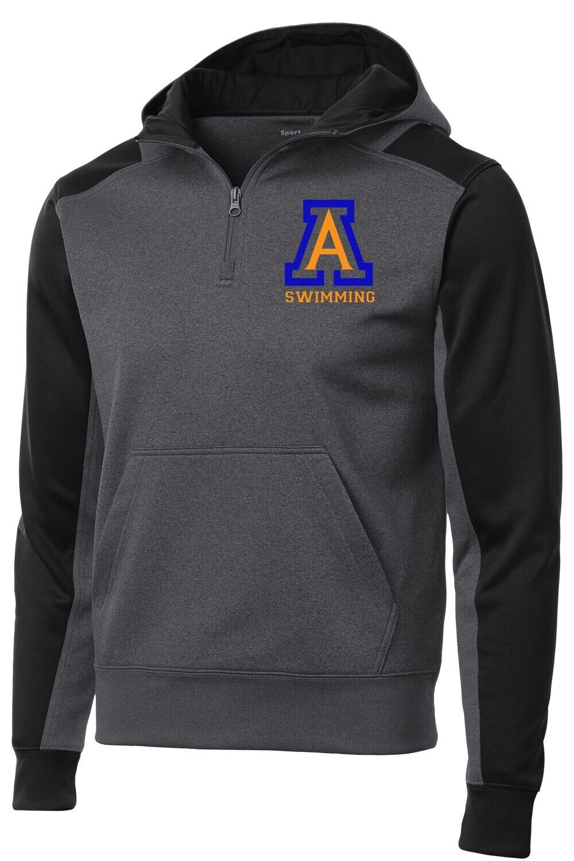 Sport-Tek® Tech Fleece Colorblock 1/4-Zip Hooded Sweatshirt