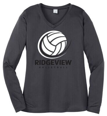 Sport-Tek® Ladies Long Sleeve PosiCharge® Competitor™ V-Neck Tee - Swoosh Logo