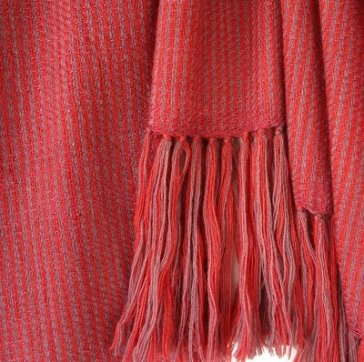 Hand-woven stole wool and eri silk madder and shellac