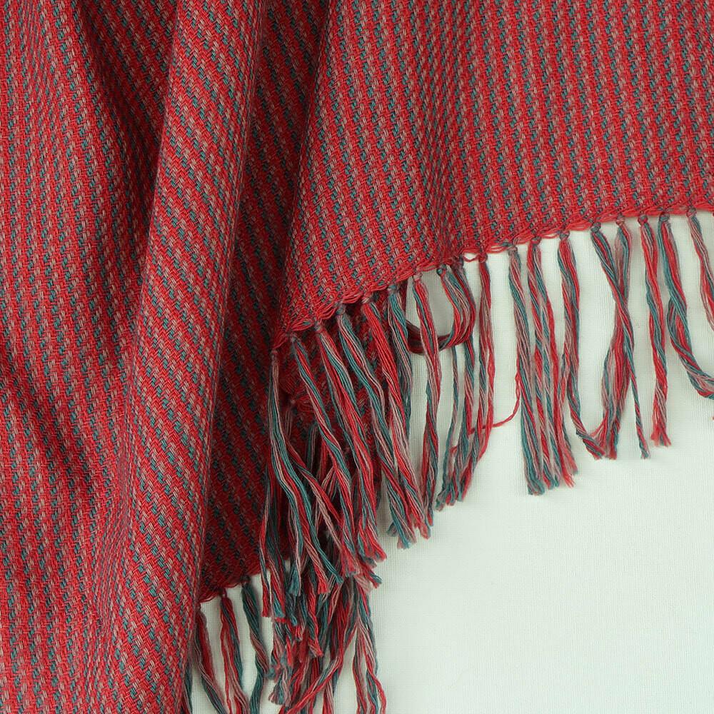 Hand-woven woollen stole madder, indigo and tesu
