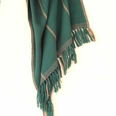 Handwoven Woollen Stole Dyed with Indigo, Tesu  and Shellac