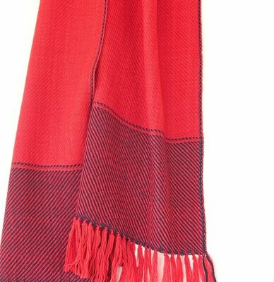 Handwoven Woollen Scarf Dyed with Indigo, Madder and Shellac