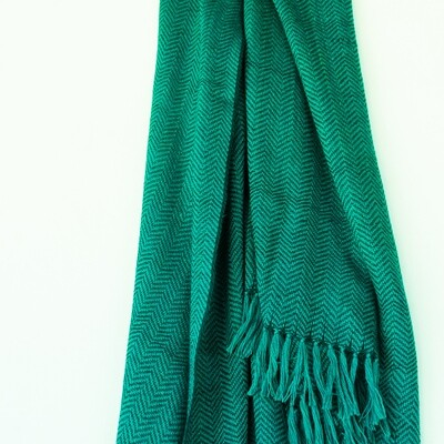 Hand-woven woollen stole dyed with indigo and tesu