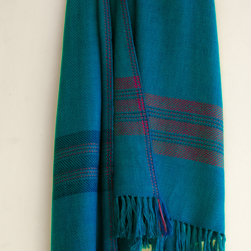 Hand-woven woollen stole dyed with indigo and shellac