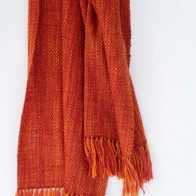 Scarf made with hand spun wool and dyed with madder and tesu