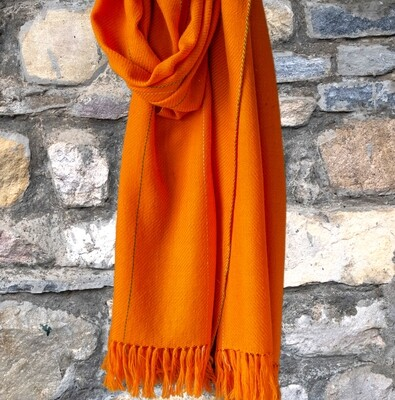 Hand-woven woollen stole dyed with tesu flowers, indigo and Tea.