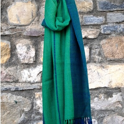 Hand-woven woollen stole dyed with indigo and tesu (Flame of the Forest)