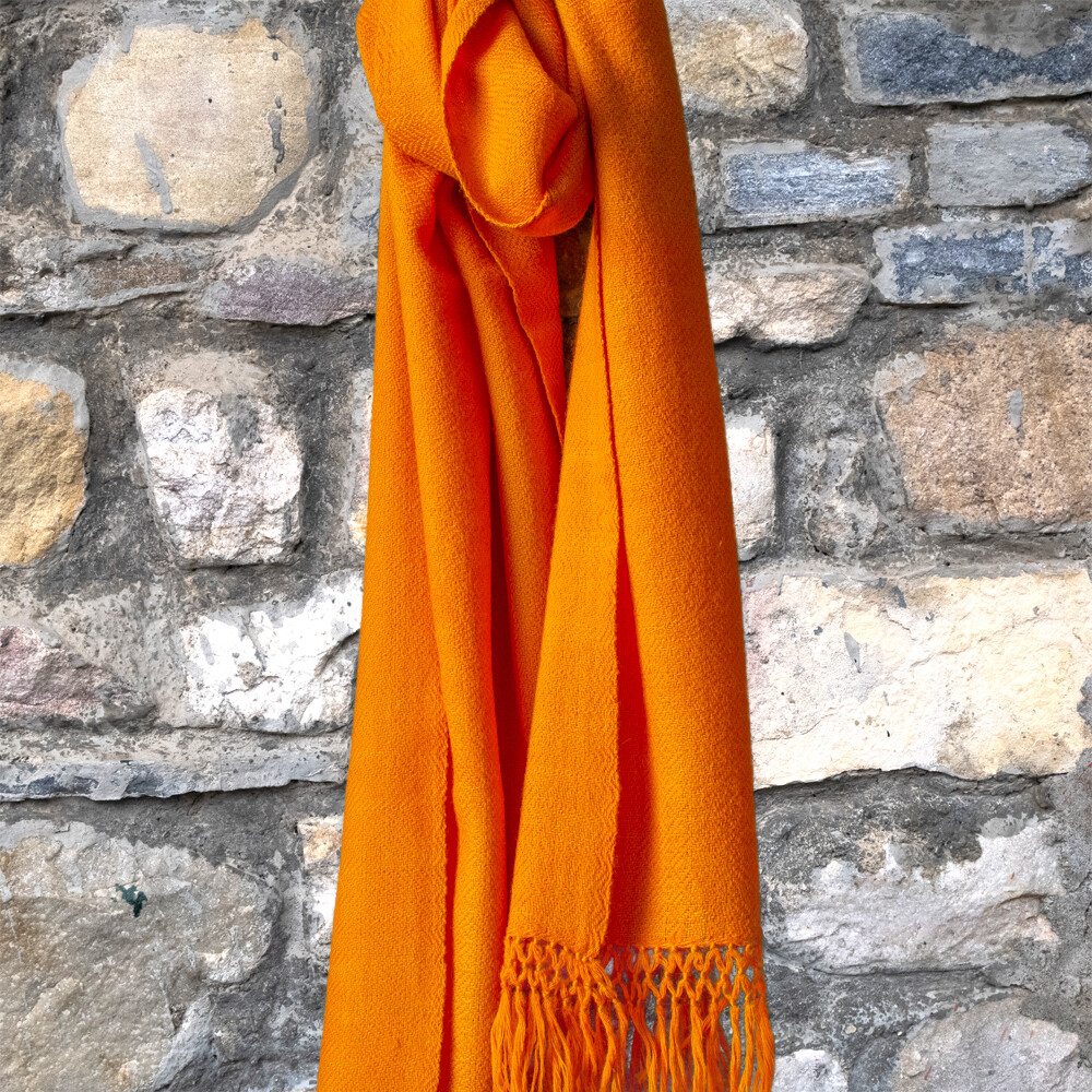 Hand-woven woollen stole dyed with tesu (Flame of the Forest)