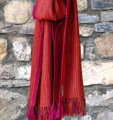 Hand-made Scarf woven with hand spun wool and dyed with Madder, Tesu and Sappanwood