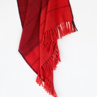 Hand-woven woollen stole dyed with sappanwood and shellac