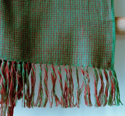 Hand-woven woollen stole dyed with Indigo, tesu and madder